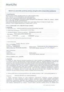 Úrazové poistenie-poistná zmluva 002